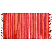 Cotton Area Rug, Seavish Hand Woven Chindi Rag Rug Multicolor Reversible Rug for Living Room Laundry Room Dorm (4x6, Orange)