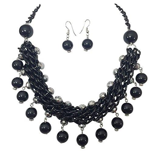 - Unique Bead Drop Flair Boutique Style Necklace & Earrings Set (Black & Hematite Grey)