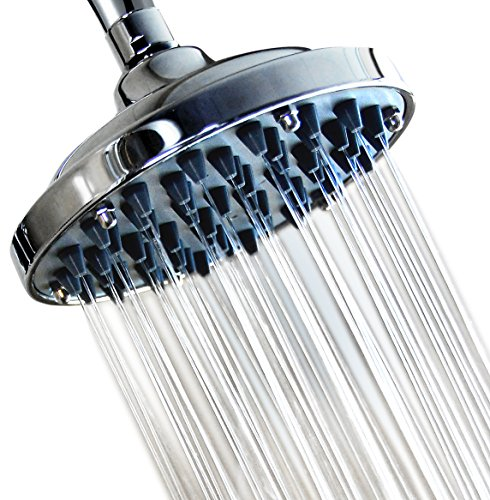6 Inch High Pressure Rainfall Massage Shower Head - Disassembled Clean Nozzles - Bathroom Showerhead Low Flow Showers - Wall Mount - Chrome - Removable Water Restrictor - Adjustable Metal Swivel Ball