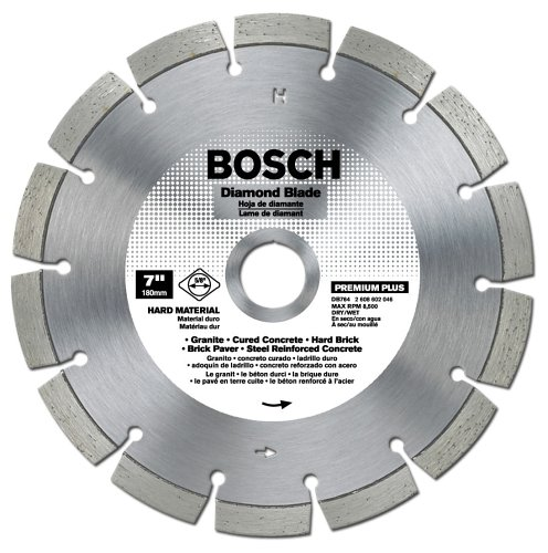 - Bosch DB764 Premium Plus 7-Inch Dry or Wet Cutting Segmented Diamond Saw Blade with 5/8-Inch Arbor for Granite