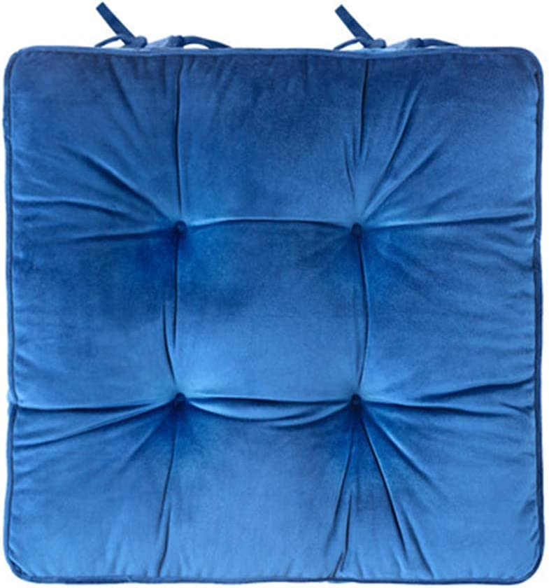 JINGXIN Thicken Soft Office Chair Pad Back Cushion Solid Color Dining Room Seat Cushions Home Floor Cushions Tatami Pillows - 16.9 x 16.9 inches,Sapphire
