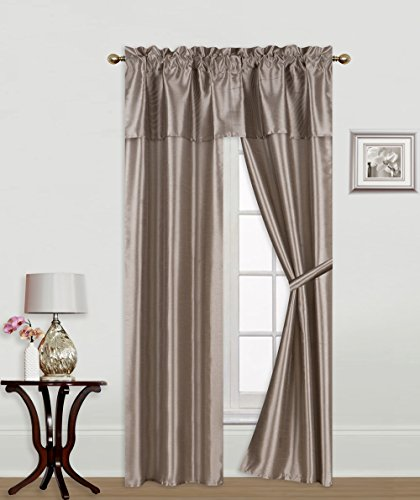 - GorgeousHome (NIGHT) 5pc Solid Rod Pocket Faux Silk Window Curtain, 1 Straight Valance & 2 Panels Attached with 2 Tie Backs 56