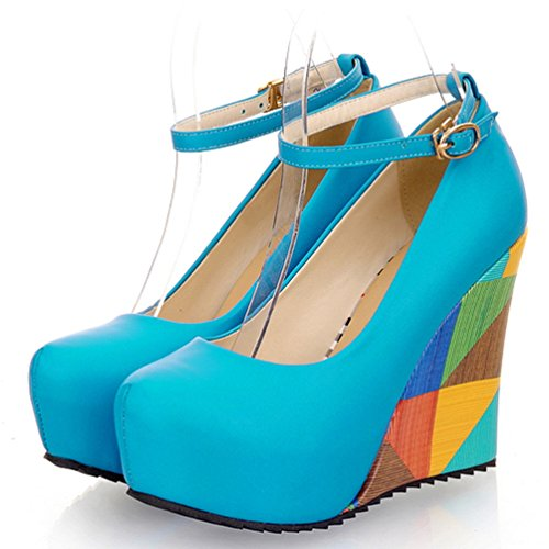 Print AIWEIYi Wedge Shoes Blue Heel High Round Pumps Womens Stiletto RrqwEr