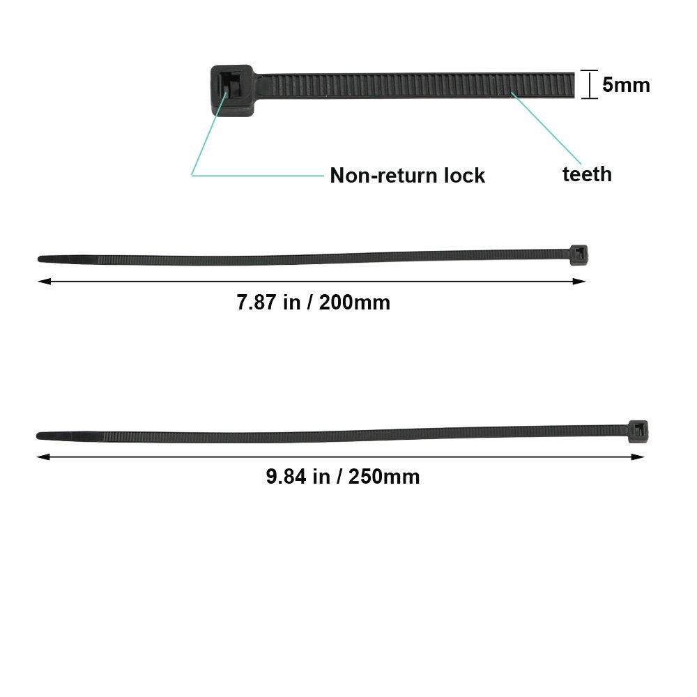 TOOHUI 200 Pezzi Fascette Plastica per Cablaggio 200 x 5 mm Fermacavo Nero 250mm x 5 mm 100 pezzi ciascuno Nylon Cavi Velcro Stringicavo Fascette per Cavi