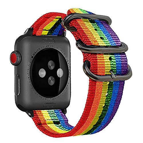 (42mm 44mm Rainbow Compatible Apple Watch Band Nylon Colorful LGBT Black NATO Buckle iWatch Band Series 4 Series 3 Series 2 Series 1 Women Men)