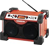 Sangean FB-100 FATBOX FM/AM/Aux-in Ultra Rugged Radio Receiver, Rain Resistant to JIS4 Standard, Dust Resistant, Shock Resistant, Digital PLL Tuner FM and AM, Large Backlit LCD Display, 12 Memory Preset Stations (6 FM, 6 AM), Rubber Shock Blocks