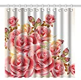 Pink and Red Shower Curtain Wknoon 72 x 72 Inch Shower Curtain,Romantic Roses Pink and Red Flowers,Waterproof Polyester Fabric Decorative Bathroom Bath Curtains