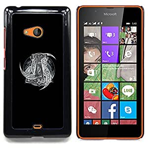 /Skull Market/ - Black White Viking Art Pattern Gods For Microsoft Nokia Lumia 540 N540 - Mano cubierta de la caja pintada de encargo de lujo -
