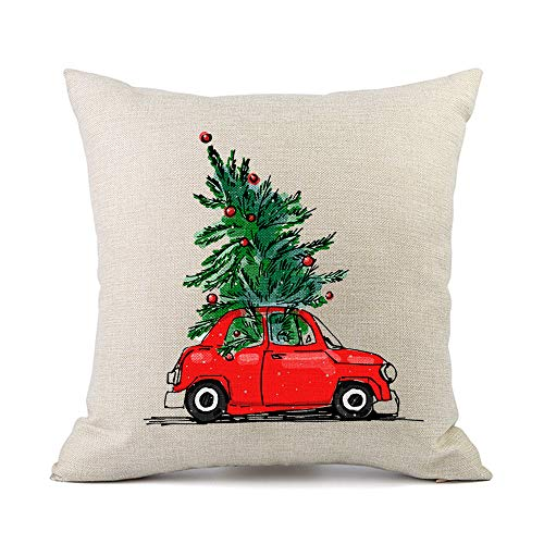 Moyun Funny Christmas Tree Car Cushion Cover Throw Pillowcase for Xmas Gifts Home Decor 45cm Square