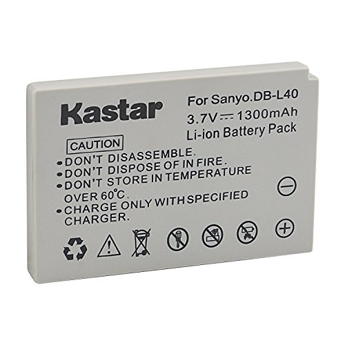 Kastar Battery 1 Pack for Sanyo DB-L40, DB-L40AU and Sanyo Xacti DMX-HD1, DMX-HD1A, DMW-HD2, DMX-HD15, DMX-HD700, DMX-HD800, VPC-HD1, VPC-HD1A, VPC-HD1E, VPC-HD2, VPC-HD700, VPC-HD800 (Db L40 Replacement Battery)
