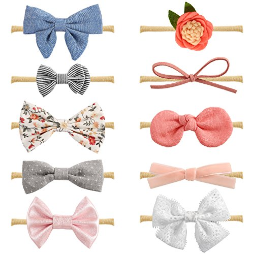 Baby Girl Headbands and Bows, Newborn Infant Toddler Hair Accessories by (Infant Toddler Bow Headband)