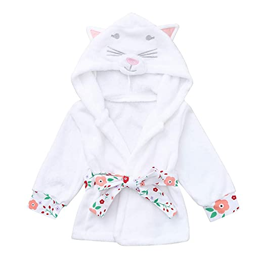 2b4c732bd Amazon.com  Toddler Baby Boys Girls Cat Hooded Bathrobe Soft Flannel ...