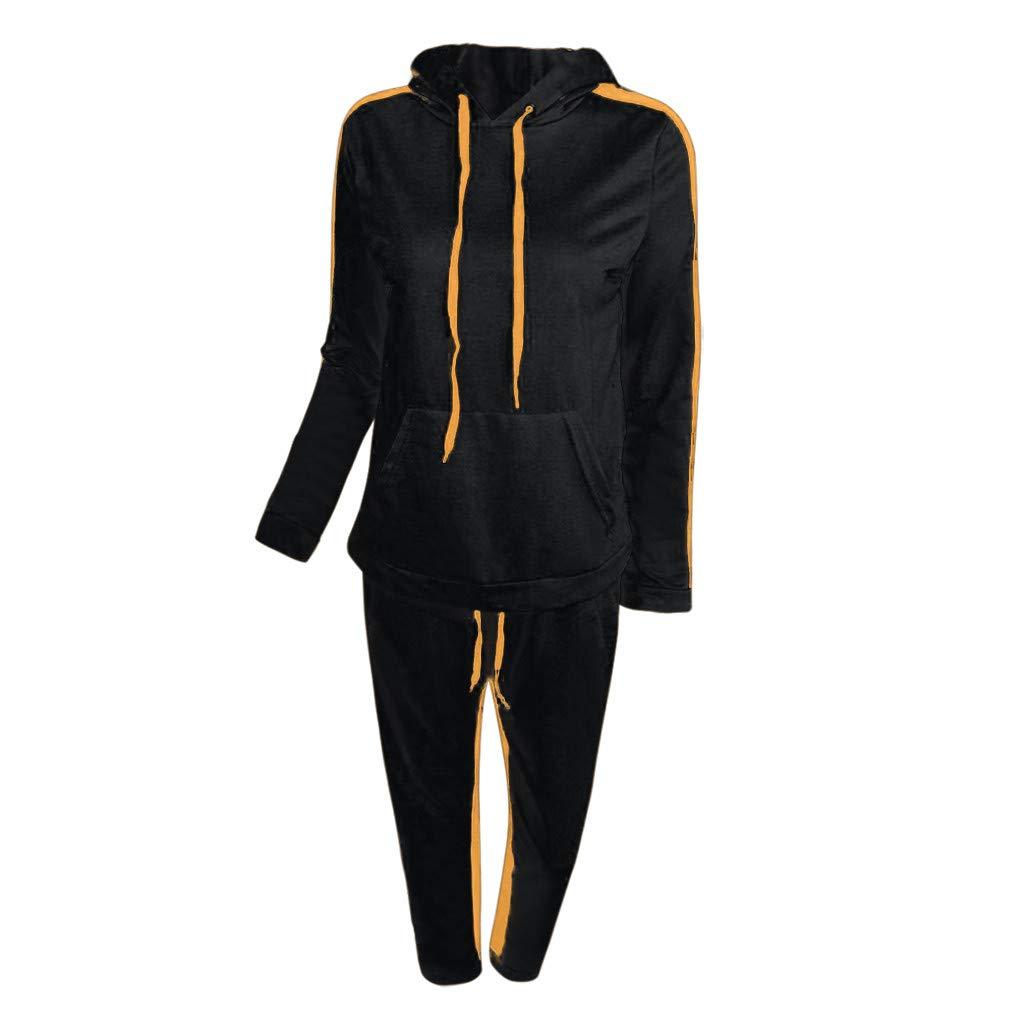 Women Casual Long Sleeves Yellow Hoodie Zipper Pullover Sport Tops+Long Hoodies Pants Tracksuit Sweatshirt Couple Set