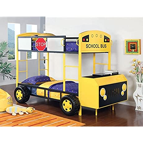 Twin Decker School Bus Twin Over Twin Design Yellow And Black Sturdy Metal Construction Bed Frame Set