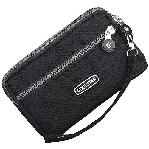 3 Zippers Clutch Wallet Waterproof Nylon Cell phone Purse Wristlet Bag Money Pouch for Women (Black) by Coolstar (Image #7)