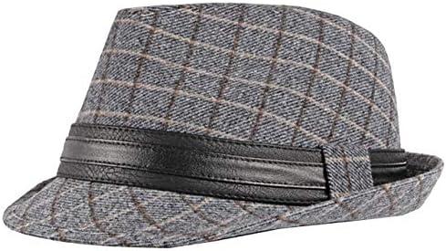 ハット 帽子 中折れ チェック柄 黒 グレー 秋冬 おしゃれ かっこいい メンズ CA367