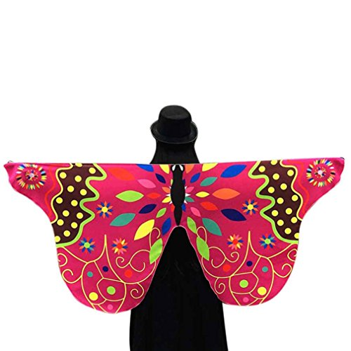 Soft Fabric Peacock Wings Shawl,Tuscom@ Fairy Ladies Nymph Pixie Costume Accessory (145×65CM/Polyester, Hot Pink (Pink Nymph Fairy Costume)