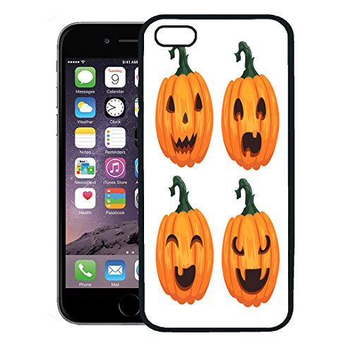 Semtomn Phone Case for iPhone 8 Plus case,Green Angry Pumpkins for Halloween Orange Monster Autumn Bad Carving iPhone 7 Plus case Cover,Black