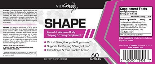 Vitamiss Shape - All Natural Blend Designed for Women - Appetite Suppression, Burning Fat, Weight Loss, and Metabolism Support!