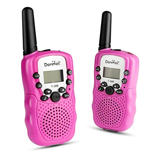 Denmer Two-Way Radios Mini Walkie Talkie 3-5KM Range 22-Channel FRS/GMRS UHF Two-Way Radios Colorful Walkie-Talkie for Kids(Pink) ...