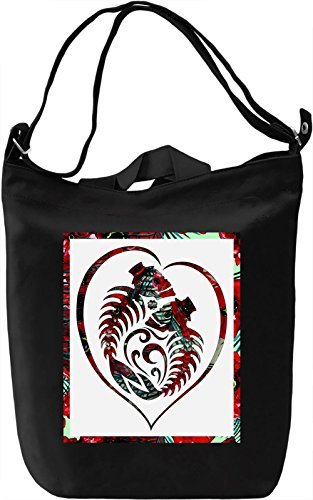Love and Death Borsa Giornaliera Canvas Canvas Day Bag| 100% Premium Cotton Canvas| DTG Printing|
