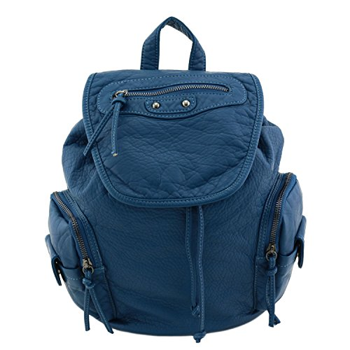 [Washed Soft Faux Leather Backpack Teal] (Patent Leather Backpack)