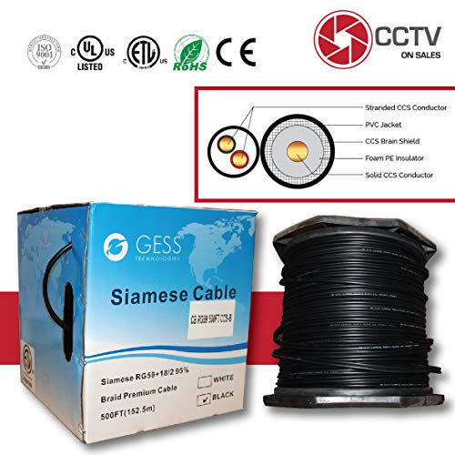 (CCTVOnSales RG59 500FT Bulk Siamese Combo Coaxial Cable CCS Copper Clad Steel Black, 20AWG Video Plus 18/2 Power Cable, CMR Rated (in-Wall Installations) Warranty Up to 5MP ETL Listed)
