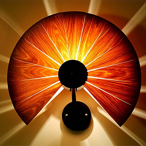 Creative thin Wood Wall Lamp Pumpkin shape Sector Veneer wall Lights Hand knitting process Iron paper base Teahouse balcony corridor yard lamp Bedroom Wall Light (wood) ( Design : C )