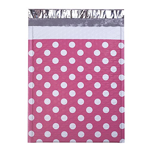 UCGOU #2 8.5x12 Inch Pink Dot Padded Envelopes Water Proof Poly Bubble Mailers Self Seal Mailing Envelopes Pack of 25