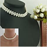 West7 Silver Alloy Pearl Choker Necklace For Women