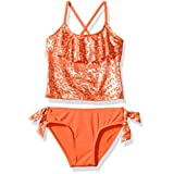Pink Platinum Toddler Girls' Foil Cheetah Print Two Piece Swimsuit, Fiery Coral, 2T