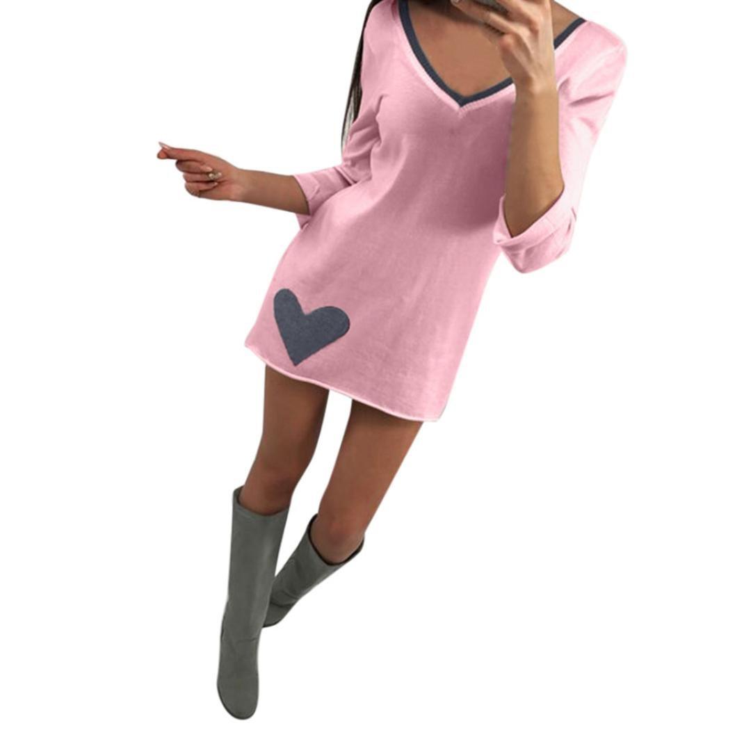 Vestido del cuello en V largo del partido de la tardede la manga larga de las mujeres de la moda mini Dress (Rosado, XL): Amazon.es: Iluminación