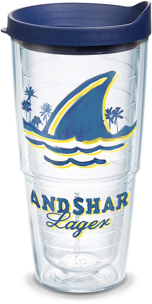 Tervis 1319371 Margaritaville - Landshark Logo Insulated Tumbler with Wrap and Lid, 24 oz - Tritan, Clear