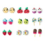 Claire's Girls Fruit and Sweets Earrings - Set of 9