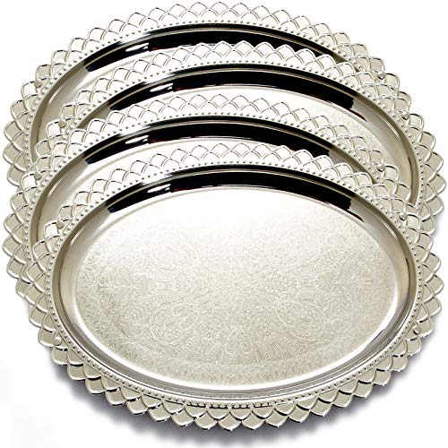Maro Megastore (Pack of 4) 17.3-Inch x 12.6-Inch Oval Chrome Plated Serving Tray Edge Special Floral Engraved Decorative Wedding Birthday Buffet Party Dessert Food Snack Platter Plate 2061 M Ts-264
