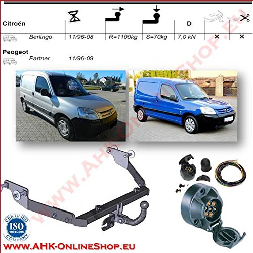 Towbar + 7 Pin Electrics for Citroen Berlingo/Peugeot Partner 1996 - 2008 Trailer Hitch - with swan neck Tow Ball AHAKA AHFC012ES7