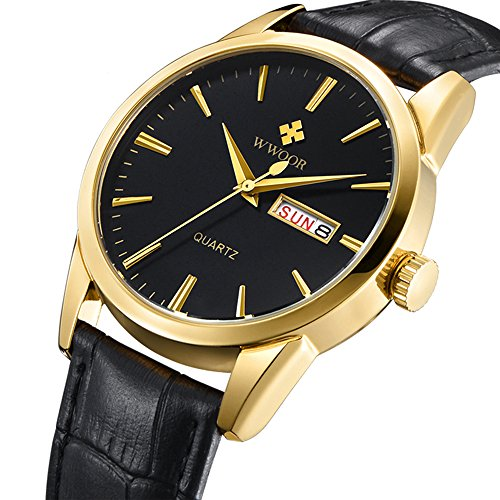 Dial Auto Black (Gosasa Men's Gold-tone Black Dial Black Leather Strap Dress Watch with Auto Date Function)