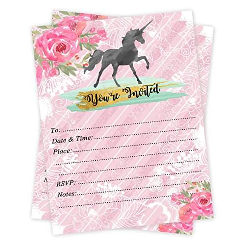 Girl Unicorn Birthday or Slumber Party Invitations 20 Count With Envelopes