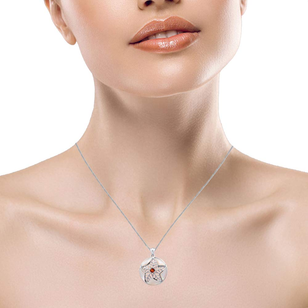 Nickel Free Beautiful And Stylish Anniversary Gift For Wife 1.55 Ct White Fancy Pearl And Garnet 925 Sterling Silver Pendant For Women