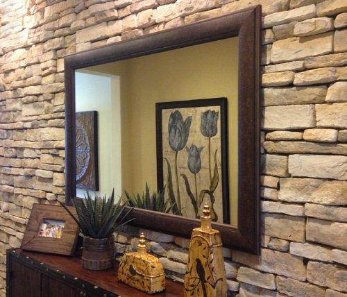 West Frames Marcello Rustic Walnut Brown Framed Wall Mirror 38