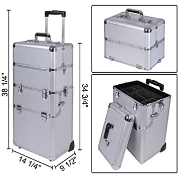 d1223afd6d19 38 quot  2-in-1 Professional Rolling Train Aluminum Frame Cosmetic Makeup  Case Silver