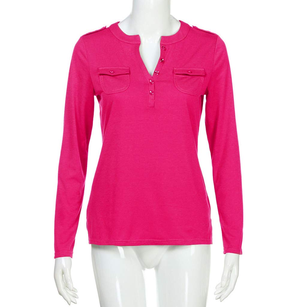 Womens Henley Shirts, Hot Sexy Slim fit Long Sleeve Button Up V Neck Basic Tee Tops Blouses at Amazon Womens Clothing store: