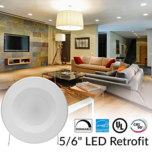 Sunco Lighting 4 Pack 5/6 Inch LED Recessed Downlight, Baffle Trim, Dimmable, 13W=75W, 3000K Warm White, 965 LM, Damp Rated, Simple Retrofit Installation - UL + Energy Star