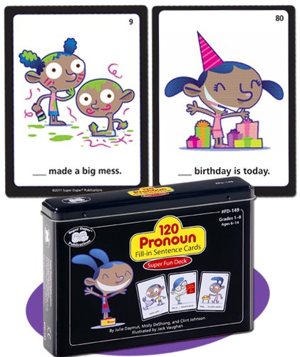 120 Pronoun Fill-in Sentence Fun Deck Cards - Super Duper Educational Learning Toy for Kids by Super Duper Publications