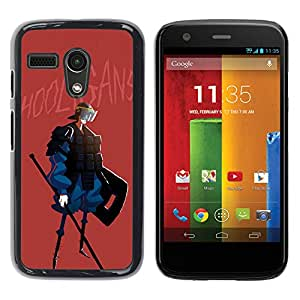 Shell-Star Arte & diseño plástico duro Fundas Cover Cubre Hard Case Cover para Motorola Moto G1 / X1032 ( Hooligan Quote Police Peace Fighter Spear )