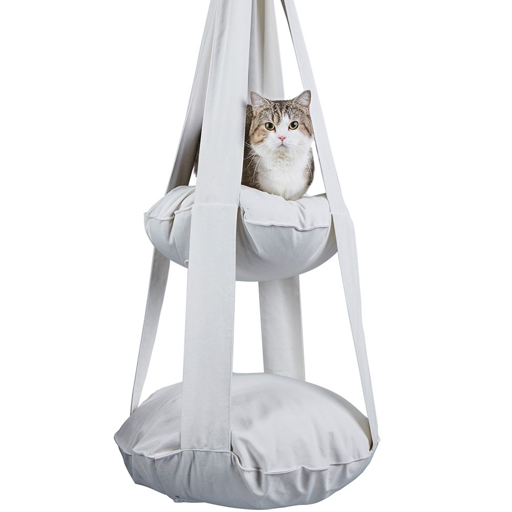 Creation Core Unique Cat Hanging Hammock Double Soft Bed Cat Bunk Beds(White) by Creation Core (Image #1)