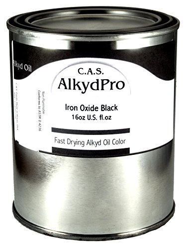 C.A.S. Paints AlkydPro Fast-Drying Oil Color Paint Can, 16-Ounce, Iron Oxide Black