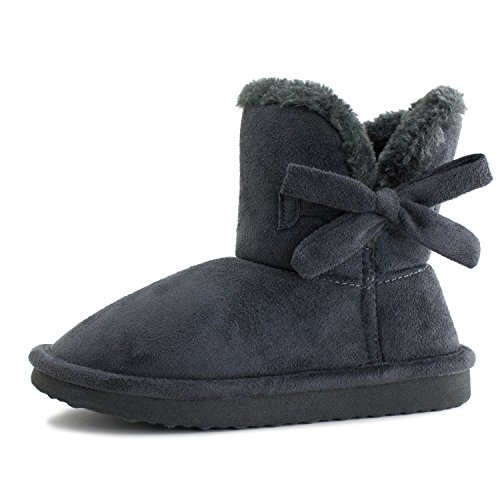 Faux Suede Ankle Mini Womens Boots Grey Fur Winter Short Flat Ribbon qrSnWw0r