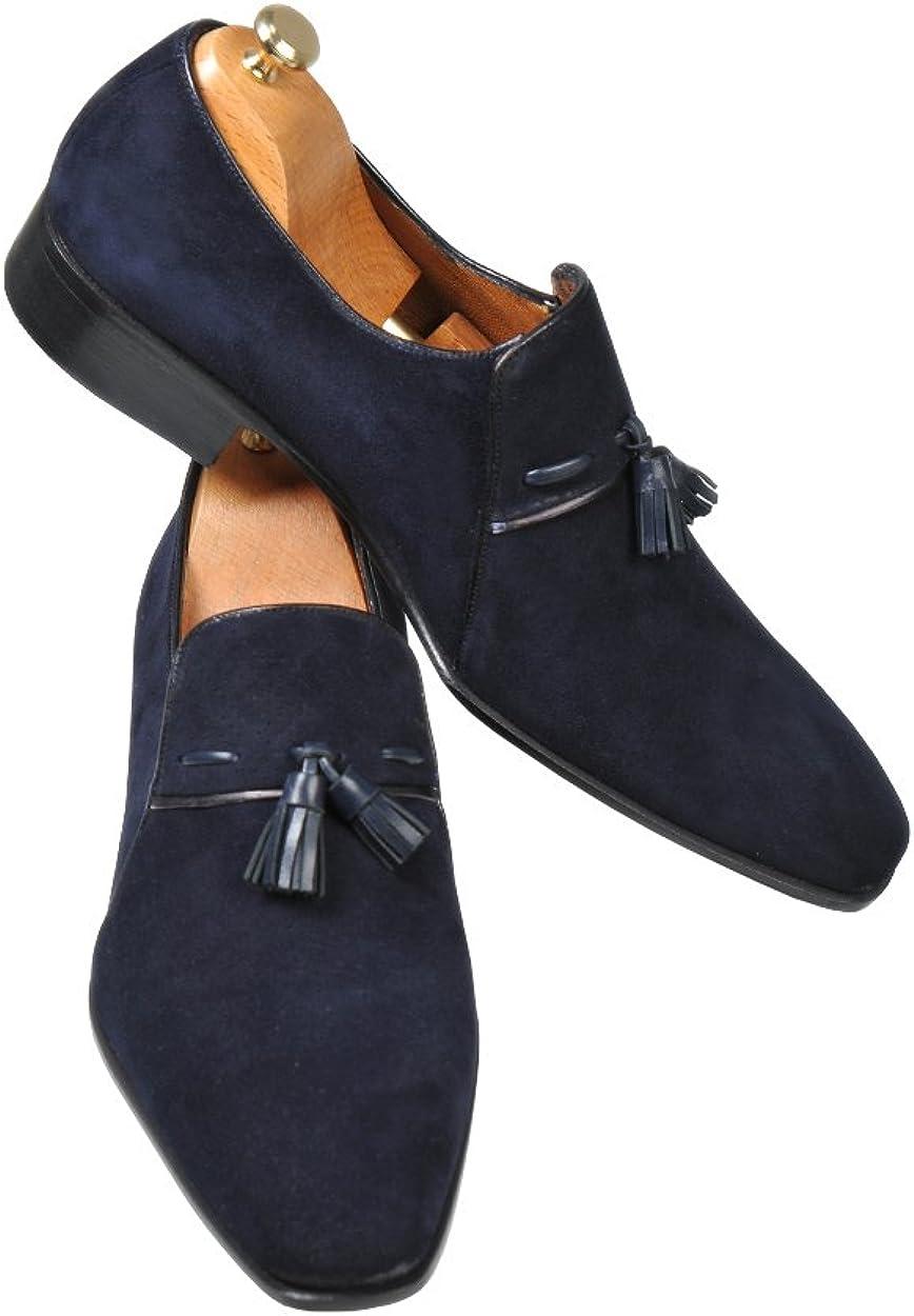 Handmade Navy Blue Loafer Suede Men
