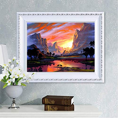 - 5D Diamond Painting Kit Full Drill Mountain River Grassland Sunset Night Scene Landscape Rhinestone Pasted Embroidery Cross Stitch Craft Decoration for Adults Kids (B)